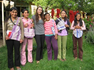 Alli and the Chicas with Results of a Shoulder Bag Sewing Project
