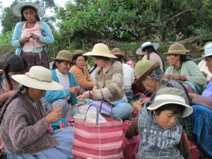 Teaching a Knitting Workshop in Huancarani