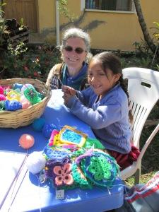 Teaching Noelia Spool Knitting