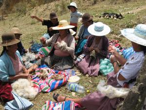 Spinning and Knitting at a Meeting in Huancarani, 2009