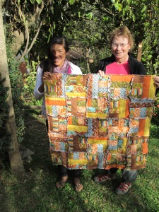 Lizeth and Marian with the Finished Quilt