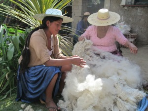 Adviana & Doña Màxima Preparing Alpaca Fiber for Spinning