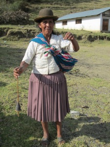 Doña Alicia Arrived at the Workshop Plying Yarn to Weave a Blanket