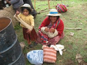 Doña Ines Gets a Hand Winding a Skein for a Dye Workshop, 2010