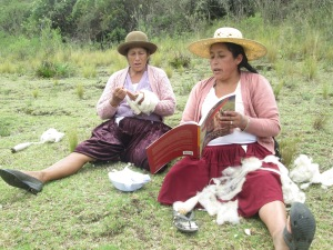 "Doñas Máxima and Antonia Looking at the Pictures in ""Faces of Tradition, Weaving Elders"""