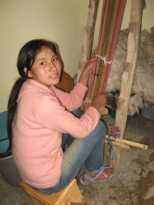 Gabriela´s First Weaving on the Loom, 2011