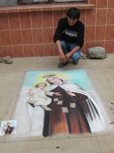 The Virgen de Carmen Madonnari Lacking Just a Few Final Touches