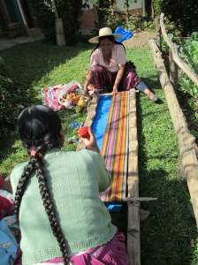 Warping a Weaving that will be a Ruraq Maki bag