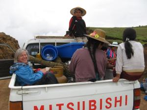 Headed to Natural Dye Workshop in Linku, 2008