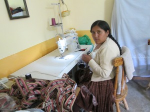 Vilma Earns Income Weaving and Sewing the Yoga Mat Straps in the PAZA Workshop