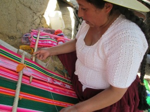 Doña Maxima Weaving a Motif Using the Embedded Double Weave Technique